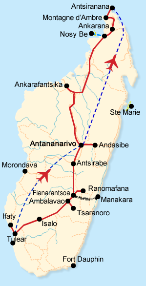 Itinerary map of the Backbone Route tours in Madagascar
