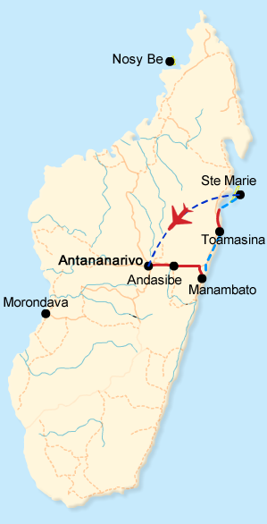 Map of the evergreen east tours in Madagascar