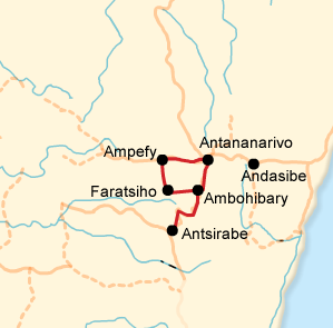 Route and itinerary map of the Wondrous Highlands Tours in Madagascar